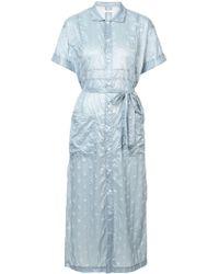 Julien David - Crinkled Polka Dot Shirt Dress - Lyst