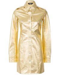 CALVIN KLEIN 205W39NYC - Gold Leather Uniform Shirt Dress - Lyst