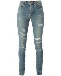 Saint Laurent - Distressed Jeans - Lyst