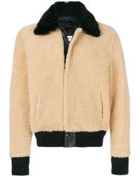 Saint Laurent - Constast Collar Shearling Jacket - Lyst
