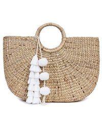Jade Tribe - White Tasseled Basckt Bag - Lyst