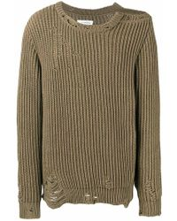 1c0076dba1 Raf Simons Oversized Destroyed V-neck Knit Sweater With Stripes for ...