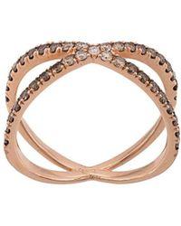 Eva Fehren - Rose Gold The Fine Shorty Diamond Ring - Lyst