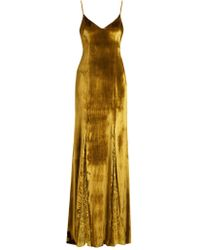 Galvan | Lace-panelled Velvet Gown | Lyst