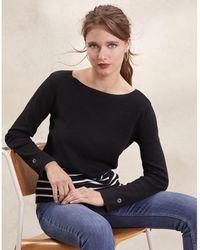 The White Company - Cotton-rich Stripe Button Cuff Sweater - Lyst