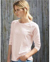 The White Company - Cotton Raglan Button T-shirt - Lyst