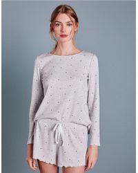 The White Company - Heart Print Rib Pyjama Set - Lyst