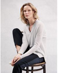 The White Company - Cashmere-rich Oversized Sparkle V-neck Sweater - Lyst