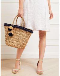 The White Company - Straw Pom-pom Trim Basket Bag - Lyst