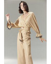 VEDA - Vance Leather Trouser Khaki - Lyst