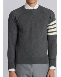 Thom Browne - Fully Fashioned French Terry Crewneck Sweatshirt With 4-bar Stripe In Grey Cashmere - Lyst