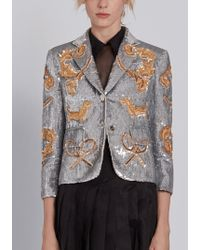 Thom Browne - Classic Single Breasted Sport Coat In Organza With Multi Icon Filigree Embroidery - Lyst