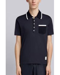 Thom Browne - Bicolor Half-and-half Jersey Polo - Lyst