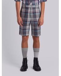 Thom Browne - Classic Backstrap Short In Large Madras Check Wool Suiting - Lyst