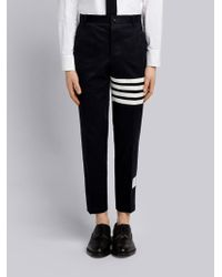 Thom Browne - Seamed 4-bar Stripe Unconstructed Chino Trouser In Cotton Twill - Lyst