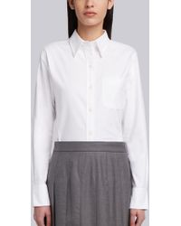 Thom Browne - Classic Long Sleeve Button Down Point Collar Shirt In Oxford - Lyst