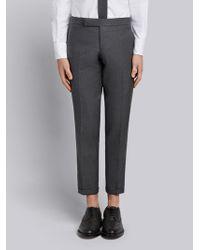 Thom Browne - Engineered Striped Side Seam Solid Wool Twill Skinny Trouser - Lyst