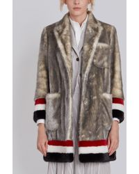 Thom Browne - Single Breasted Sack Overcoat With Intarsia Red, White And Blue Stripe In Dyed Long Hair Mink Fur - Lyst