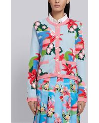 Thom Browne - Floral Intarsia Cardigan Jacket - Lyst