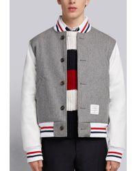 Thom Browne - Button Front Melton Wool Varsity Jacket - Lyst