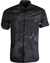 Neil Barrett - Camouflaged Pinstripe Short Sleeved Shirt Black - Lyst
