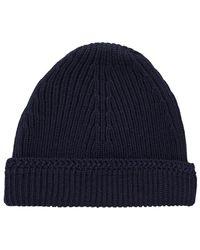 Maison Margiela - Knit Wool Cap Navy - Lyst