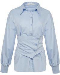 Tibi - Satin Poplin Shirt With Removable Corset - Lyst