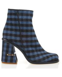 Tibi - Nora Gingham Ankle Boots - Lyst