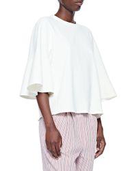 988c8f0609b3bb Tibi Drape Twill Off-shoulder Top in White - Lyst