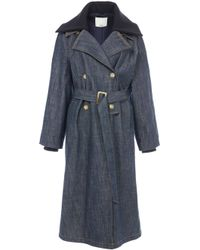 Tibi - Raw Denim Trench With Removable Collar - Lyst