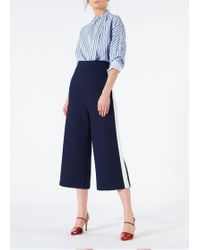 Tibi - Bond Stretch Knit High Waisted Pants With Side Stripes - Lyst