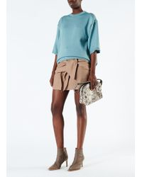 Tibi - Linen Viscose Mini Skirt With Removable Tie - Lyst