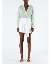 Tibi - Compact Cotton Shorts Wth Removable Tie - Lyst