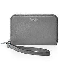Tiffany & Co. - Zip Wallet In Grey Grain Calfskin Leather - Lyst