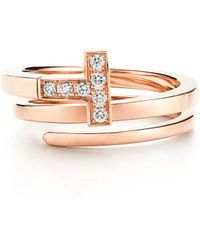 Tiffany & Co. - Tiffany T Square Wrap Ring In 18ct Rose Gold With Diamonds - Size L1/2 - Lyst