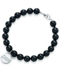 Tiffany & Co. - Love Tag In Sterling Silver On An Onyx Bead Bracelet, Medium - Lyst