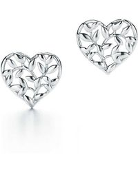 Tiffany & Co. - Paloma Picasso. Olive Leaf Heart Earrings In Sterling Silver - Lyst