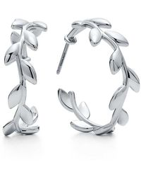 Tiffany & Co. - Paloma Picasso. Olive Leaf Hoop Earrings In Sterling Silver - Lyst