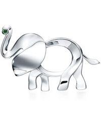 Tiffany & Co. - Tiffany Save The Wild Elephant Brooch In Silver With A Tsavorite, Medium - Lyst