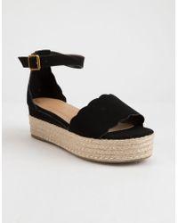 Bamboo - Scallop Espadrille Womens Platform Sandals - Lyst