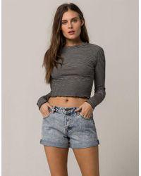 Volcom - Stoned Short Rolled Womens Denim Shorts - Lyst