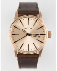 Nixon - Sentry Leather Rose Gold Watch - Lyst