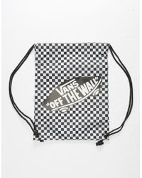 c3b64e61d2 Vans - Benched Checkerboard Black   White Cinch Sack - Lyst