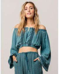 808558c70ddcc Lyst - Kendall + Kylie Off-the-shoulder Bell Sleeve Denim Crop Top ...