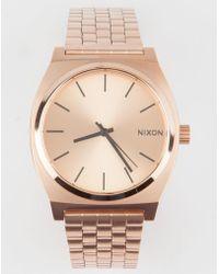 Nixon - Time Teller Rose Gold Watch - Lyst
