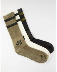 Nike - 3 Pack Dri-fit Green Mens Crew Socks - Lyst