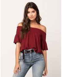 Patrons Of Peace   Smocked Womens Off The Shoulder Top   Lyst