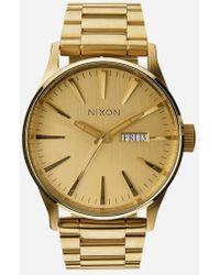 Nixon - Sentry Ss Gold Watch - Lyst