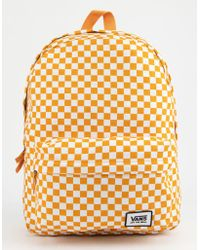 55ab89a51096 Lyst - Vans Realm Rose Checkerboard Backpack in Black