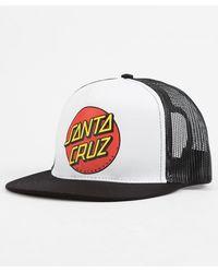 Santa Cruz - Classic Dot White Mens Trucker Hat - Lyst